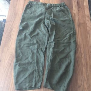 Eileen Fisher olive linen blend top and pants